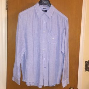 Nautica Linen Blend Casual Button Down Shirt